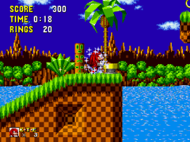 Sonic the Hedgehog (USA, Europe) [Hack by Stealth Rev 1] (~Knuckles the Echidna in Sonic the Hedgehog)