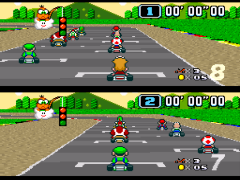 Super Mario Kart (USA) [Hack by Ok Impala v1.0] (~Super Mario Kart - The Impala Battles) (Custom Battle Tracks)